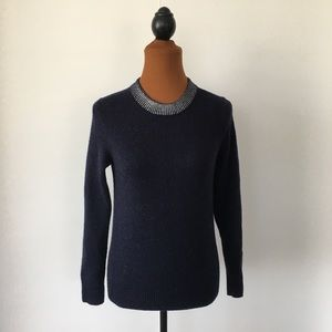 GAP Sweater Navy with Silver Brushed Collar